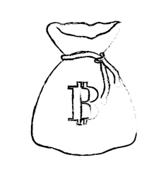 Bitcoin digital money bag symbol vector