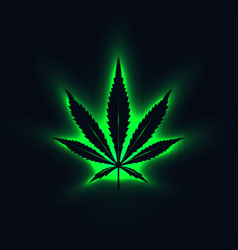 black cannabis leaf silhouette with green neon vector image