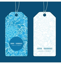 Blue field floral texture vertical round frame vector