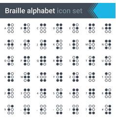 Braille alphabet simple thin icon set vector