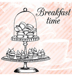 Breakfasrt retro hand drawn design card vector