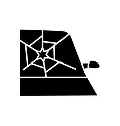 Broken car glass black glyph icon vector