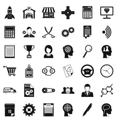 business selection icons set simple style vector image