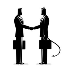 businessman making a deal with the devil vector image