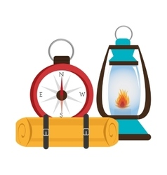 camping lamp with compass isolated icon design vector image