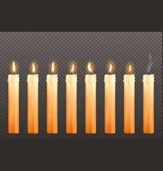 candles with different fire flames and wax drips vector image