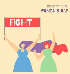 Cartoon fighting girls motivate feminist flat card vector