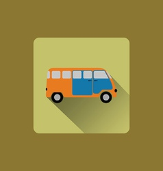 Cartoon minibus flat icon design vector image