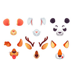 Cartoon phone masks funny animals ears tongue vector