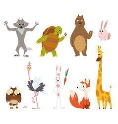 cartoon wild animals in different poses on white vector image