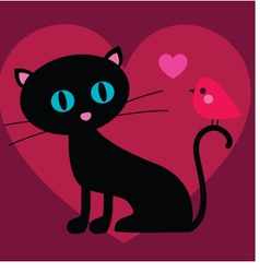 Cat and bird valentine vector