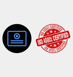 certificate icon and scratched iso 45001 vector image