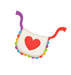 Child bib with heart vector