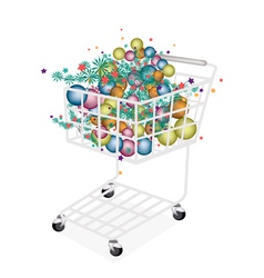 Christmas balls decoration in shopping cart vector