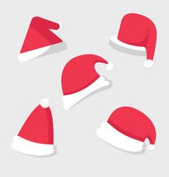 christmas celebration santa hat set vector image