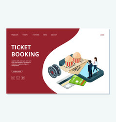 cinema ticket booking web page template vector image