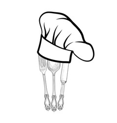 Cook hat spoon fork knife catering outdoor label vector