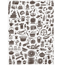 Cooking and kitchen tools doodles vector