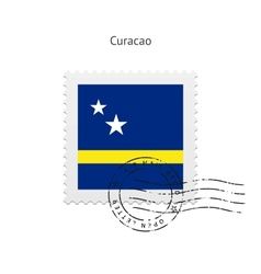 Curacao Flag Postage Stamp vector image