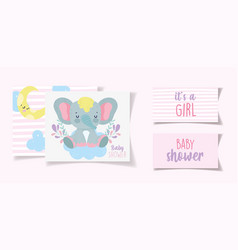cute elephant decoration its a girl bashower vector image