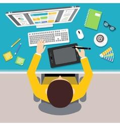 Designer work place vector image