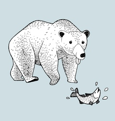 draw bear would like to eat fish vector image