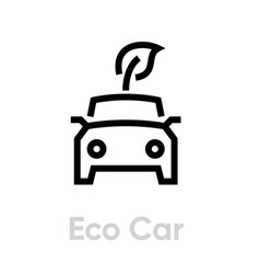 eco car icon with leaf hybrid vehicle eco vector image