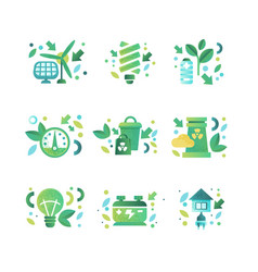 eco symbols set ecology cocept environment vector image