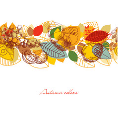 fall seamless pattern leaves and fruits vector image