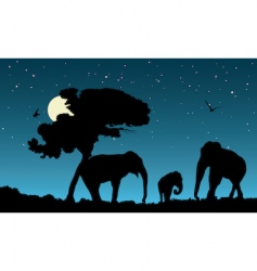 family of elephants vector image