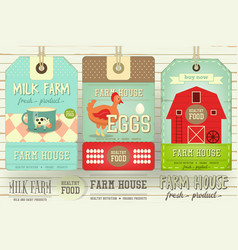 Farm price tag label vector