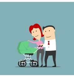 Father and mother over baby carriage vector image
