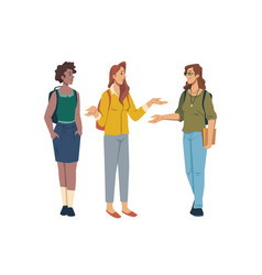 Female students in casual cloth discuss university vector