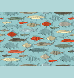 fish collection seamless pattern for your design vector image