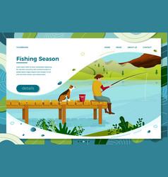 fisherman and dog sitting on wooden bridge vector image