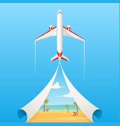 Flat banner on the theme of travel by airplane vector