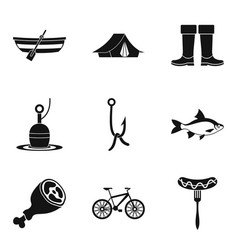 food at bonfire icons set simple style vector image