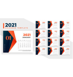 Geometric style 2021 new year calendar design vector