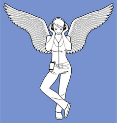 Girl with wings and listen to music vector