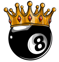 Gold crown on a billiard ball isolated on white vector