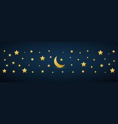 golden crescent and star symbol on dark background vector image