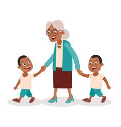 Grandmother and grandchildren twins walking vector