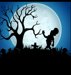 Halloween background with zombies tree and grave vector