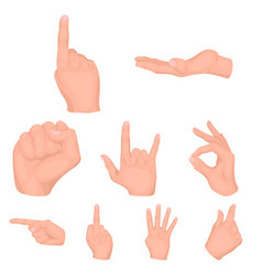 hand gestures set icons in cartoon style big vector image
