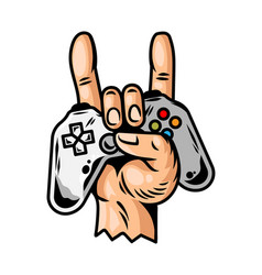 Hand which keep modern gamepad joystick vector
