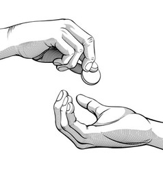 Hands giving receiving coin money black white vector