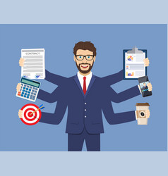 Happy businessman with many hands vector