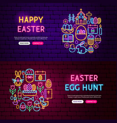 Happy easter website banners vector