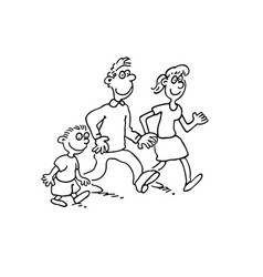 happy family cartoon walking together outlined vector image