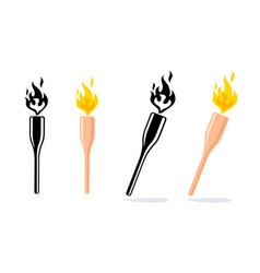 icon of torch with fire vector image